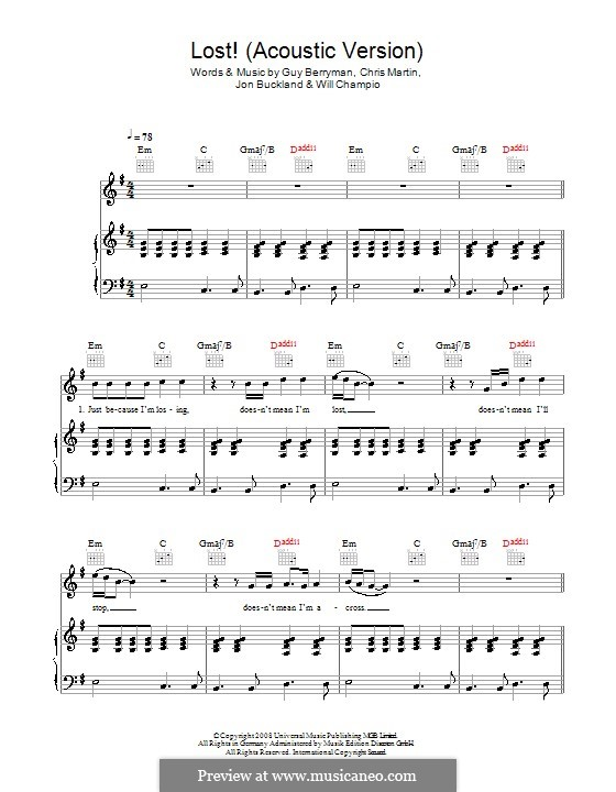 Lost! (Coldplay): For voice and piano (or guitar) by Chris Martin, Guy Berryman, Jonny Buckland, Will Champion