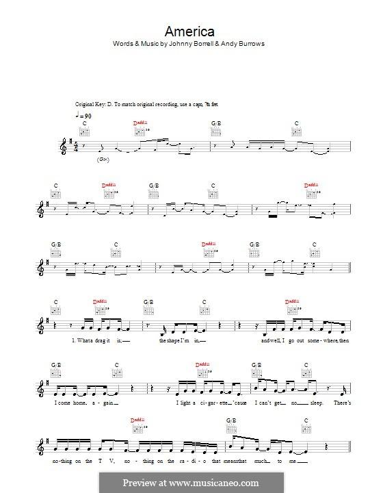 America (Razorlight): Melody line, lyrics and chords by Andy Burrows, Johnny Borrell