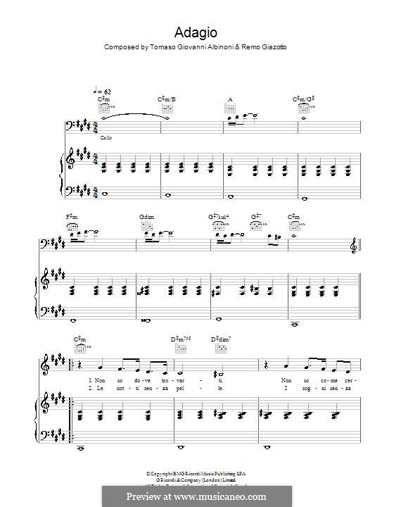 Adagio: For voice, guitar and piano (Il Divo) by Tomaso Albinoni, Remo Giazotto