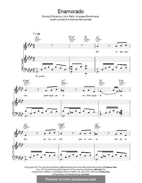 Enamorado (Il Divo): For voice and piano (or guitar) by Andreas 'Quiz' Romdhane, Armando Manzanero, John Reid, Josef Larossi