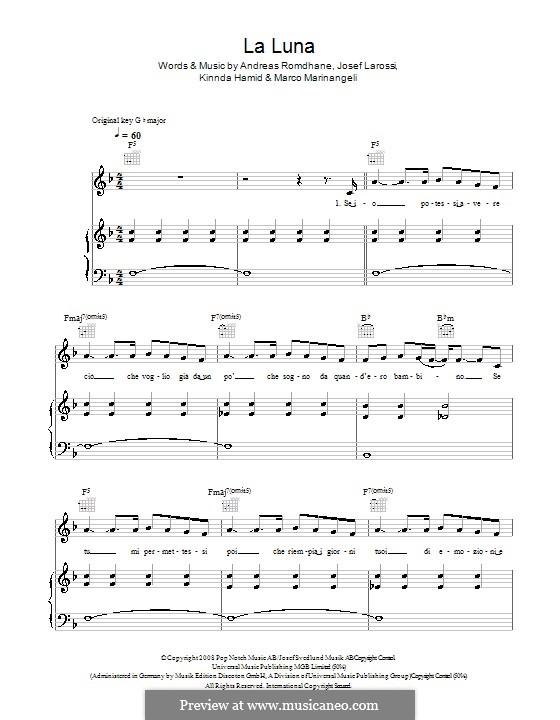 La Luna (Il Divo): For voice and piano (or guitar) by Andreas 'Quiz' Romdhane, Josef Larossi, Kinnda Hamid, Marco Marinangeli
