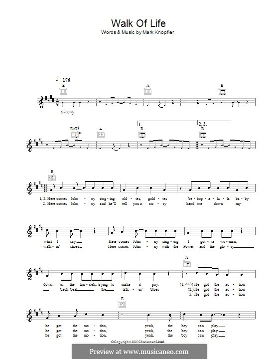 Walk of Life (Dire Straits) by M. Knopfler - sheet music on MusicaNeo