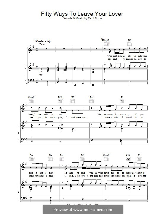 Fifty Ways to Leave Your Lover: For voice and piano (or guitar) by Paul Simon
