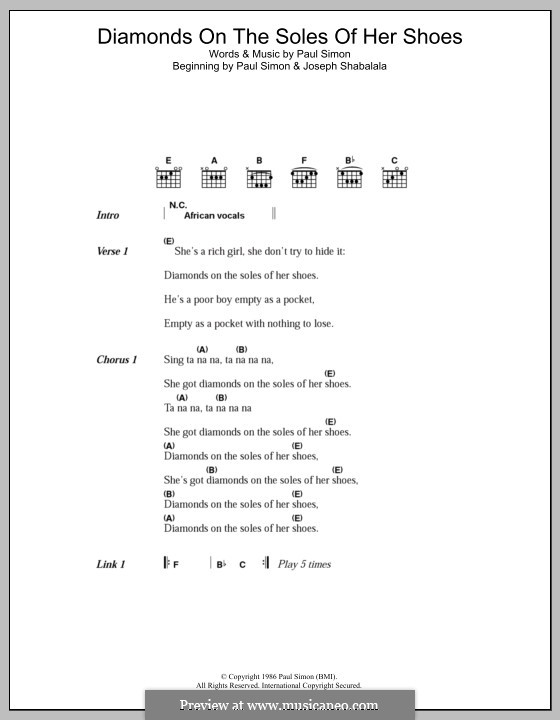 Diamonds on the Soles of Her Shoes: Lyrics and chords by Paul Simon
