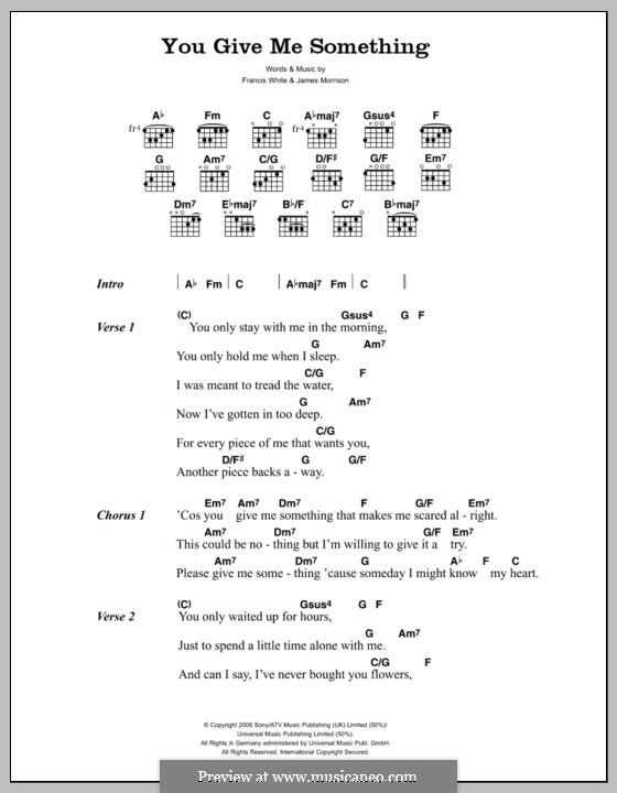 You Give Me Something: Lyrics and chords by Eg White, James Morrison