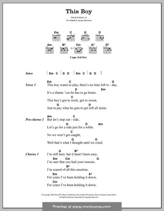 This Boy: Lyrics and chords by James Morrison, Tim Kellett