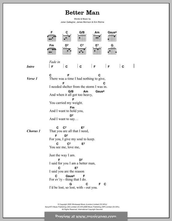 Better Man (James Morrison): Lyrics and chords by Julian Gallagher, Kim Richey