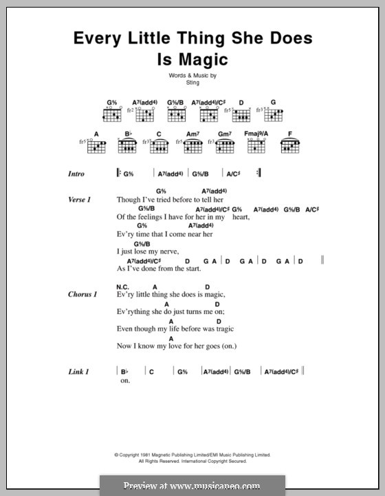 Every Little Thing She Does Is Magic: Lyrics and chords by Sting