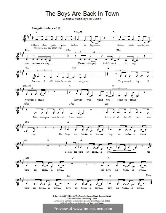 The Boys Are Back in Town (Thin Lizzy): Melody line, lyrics and chords by Phil Lynott
