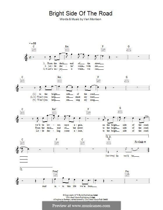Bright Side of the Road: Melody line, lyrics and chords by Van Morrison