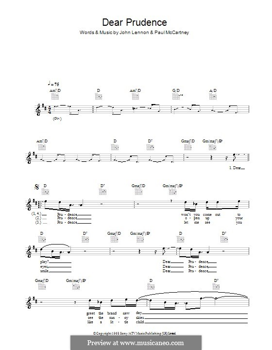 Dear Prudence The Beatles By J Lennon P Mccartney On Musicaneo