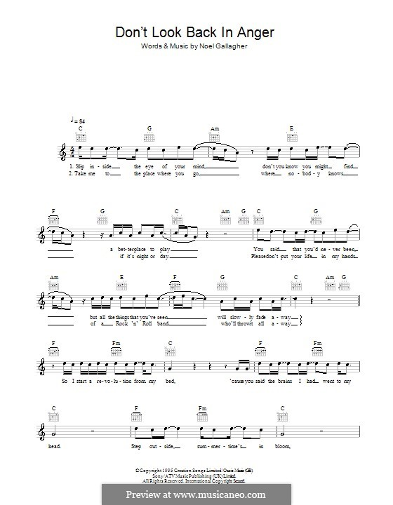 Dont Look Back In Anger Oasis By N Gallagher Sheet Music On
