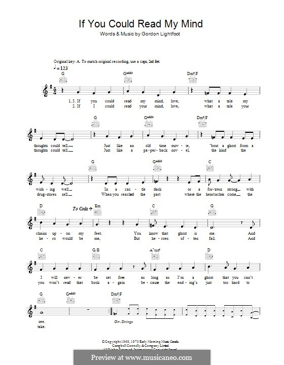 If You Could Read My Mind By G Lightfoot Sheet Music On Musicaneo