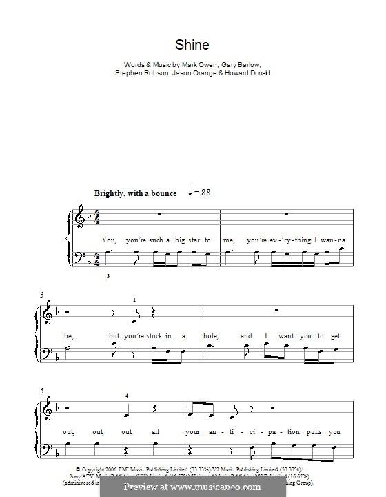 Shine (Take That): For easy piano by Gary Barlow, Howard Donald, Jason Orange, Mark Owen, Steve Robson