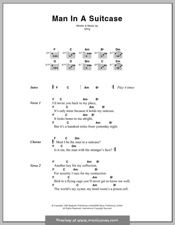 Man in a Suitcase (The Police) by Sting - sheet music on MusicaNeo