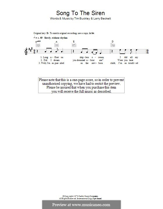 Song to the Siren (Tim Buckley): Melody line, lyrics and chords by Larry Beckett