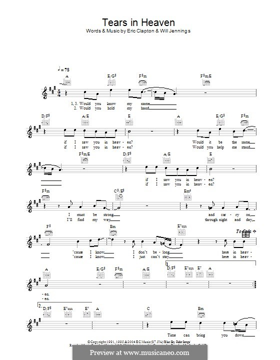 Tears in Heaven: Melody line, lyrics and chords by Eric Clapton, Will Jennings