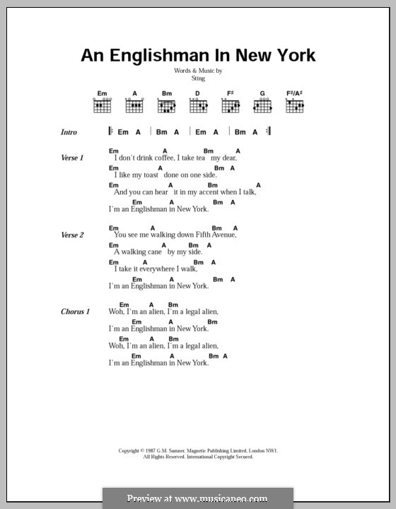 An Englishman In New York: Lyrics and chords by Sting