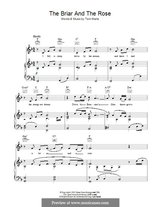 The Briar And The Rose By T Waits Sheet Music On Musicaneo
