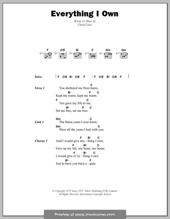 Everything I Own (Bread): Lyrics and chords by David Gates