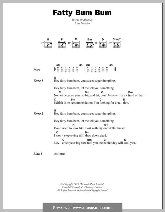 Fatty Bum Bum: Lyrics and chords by Carl Malcolm