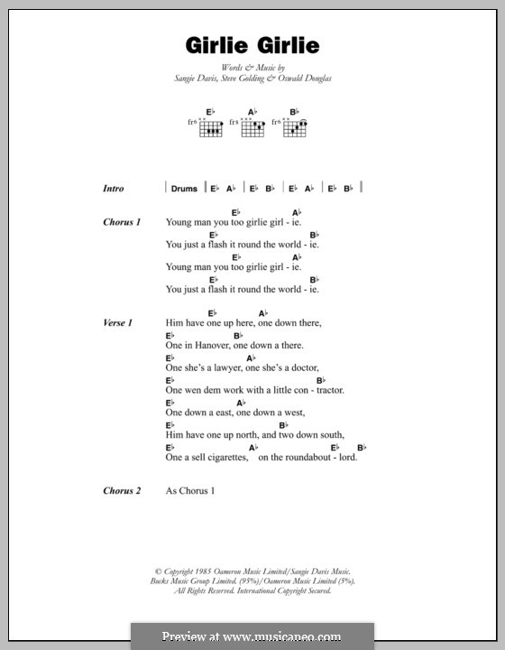 Girlie Girlie (Sophia George): Lyrics and chords by Oswald Douglas, Sangie Davis, Steve Golding