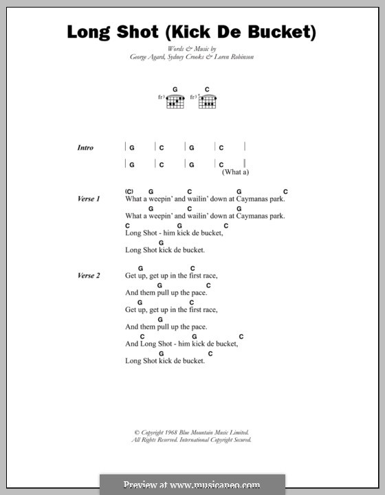 Long Shot (Kick De Bucket): Lyrics and chords (The Pioneers) by George Agard, Loren Robinson, Sydney Crooks