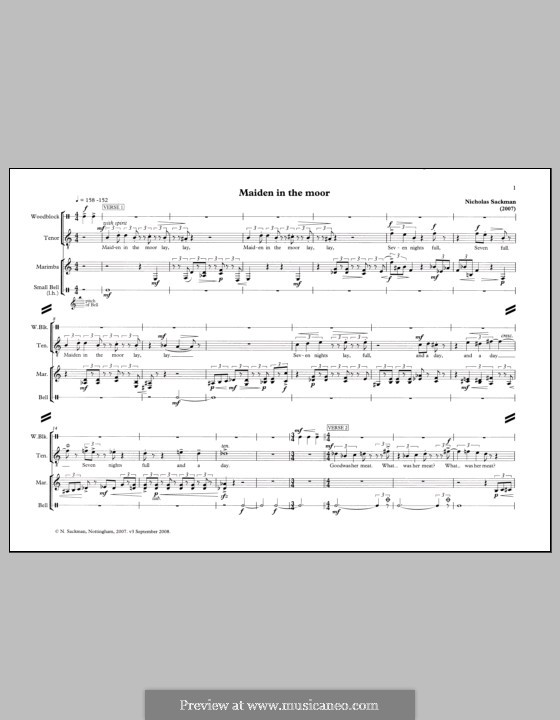 Maiden in the Moor for Tenor and Percussion: Maiden in the Moor for Tenor and Percussion by Nicholas Sackman