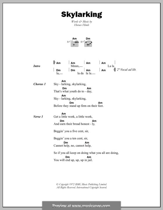 Skylarking: Lyrics and chords by Horace Hinds