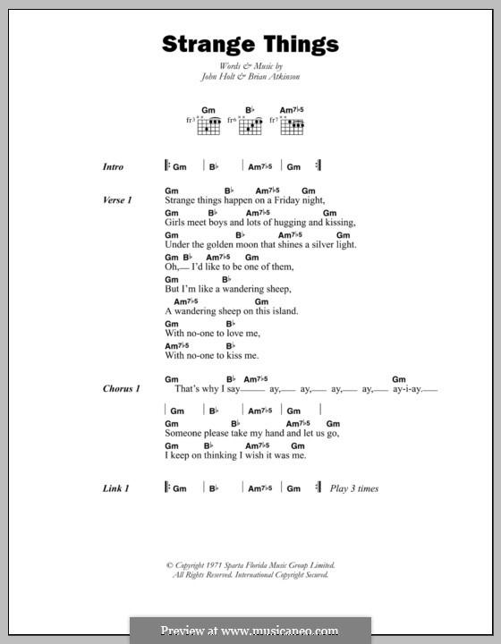 Strange Things (John Holt): Lyrics and chords by Brian Atkinson