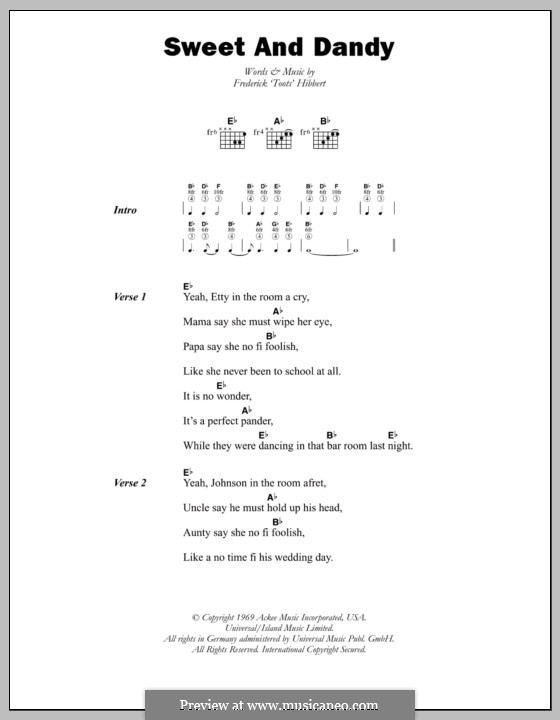 Sweet and Dandy (Toots and The Maytals): Lyrics and chords by Toots Hibbert