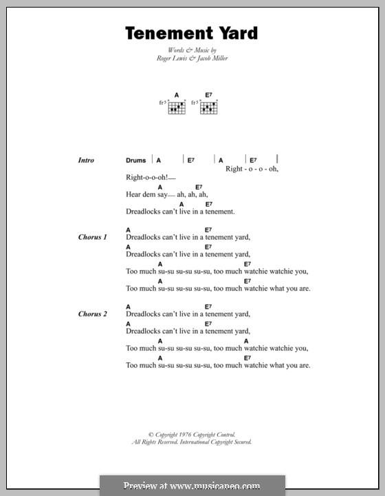 Tenement Yard (Jacob Miller): Lyrics and chords by Roger Lewis