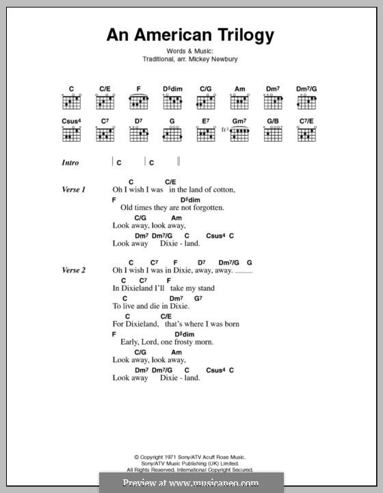 An American Trilogy (Elvis Presley): Lyrics and chords by Mickey Newbury
