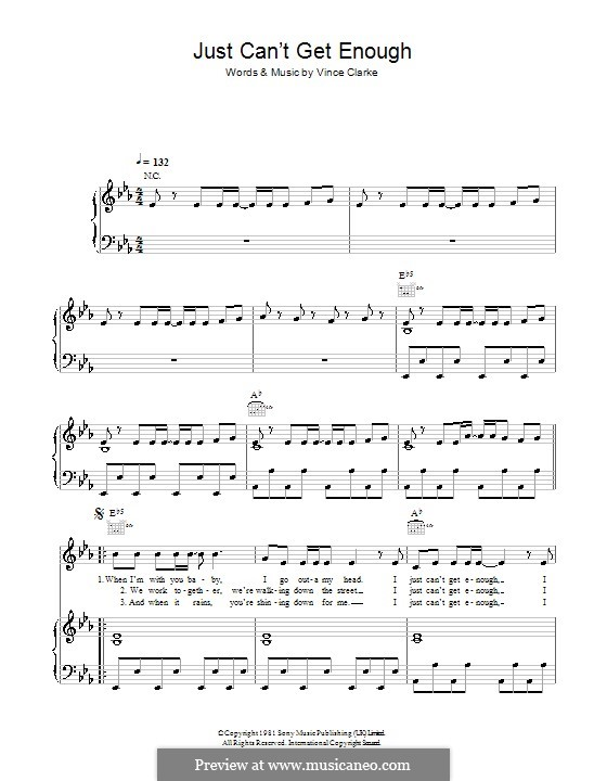 Just Can't Get Enough (Depeche Mode): For voice and piano (or guitar) by Vince Clarke