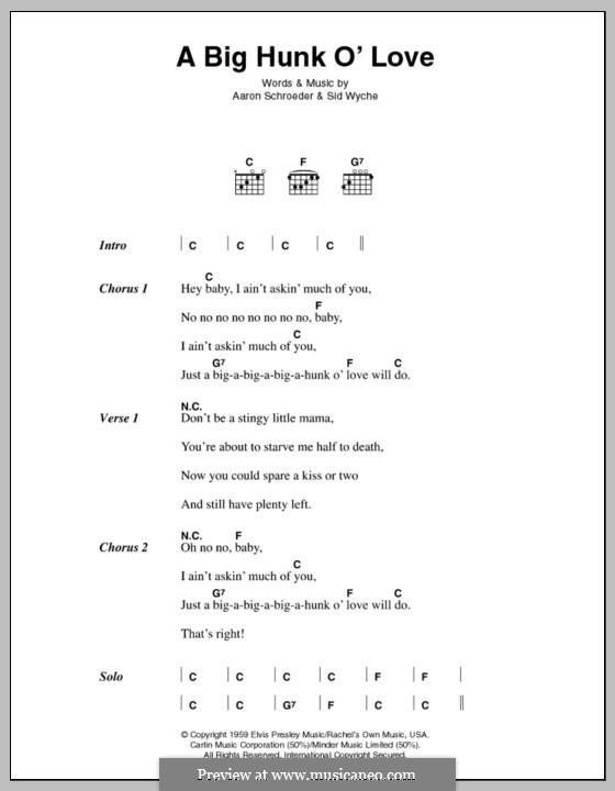 A Big Hunk O' Love (Elvis Presley): Lyrics and chords by Aaron Schroeder, Sid Wyche