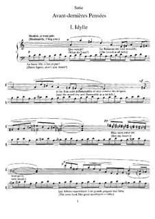 Avant-dernières pensées: For piano by Erik Satie