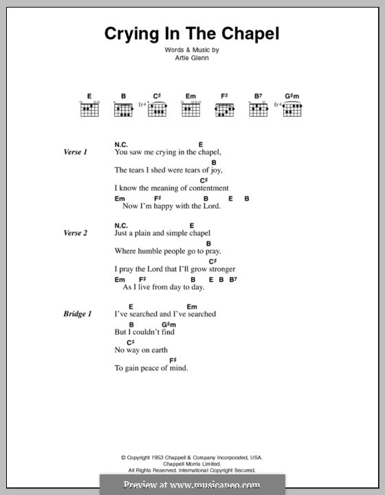 Crying in the Chapel (Elvis Presley): Lyrics and chords by Artie Glenn