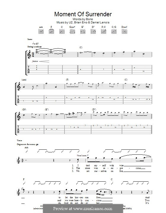 Moment of Surrender (U2): For guitar with tab by Brian Eno, Daniel Lanois