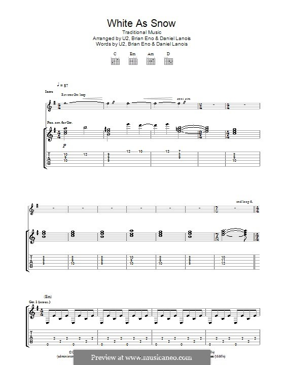 White As Snow: For guitar with tab by folklore