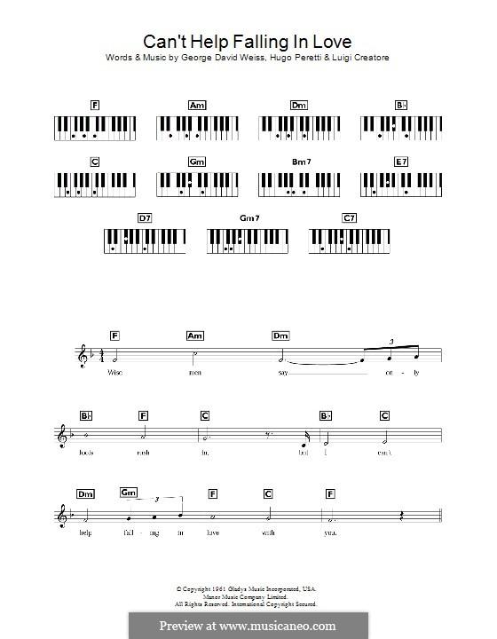 Can't Help Falling in Love: For keyboard by George David Weiss, Hugo Peretti, Luigi Creatore