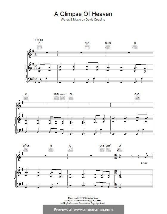 A Glimpse of Heaven (The Strawbs): For voice and piano (or guitar) by David Cousins