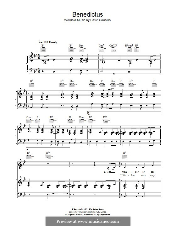 Benedictus (The Strawbs): For voice and piano (or guitar) by David Cousins