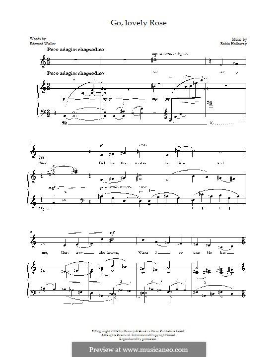 Go, lovely Rose for mezzo-soprano and piano: Go, lovely Rose for mezzo-soprano and piano by Robin Holloway