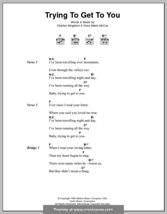 Trying to Get to You (Elvis Presley): Lyrics and chords by Charles Singleton, Rose Marie McCoy