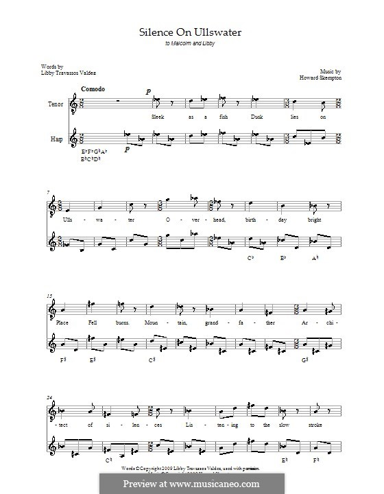 Silence on Ullswater: For tenor and harp by Howard Skempton