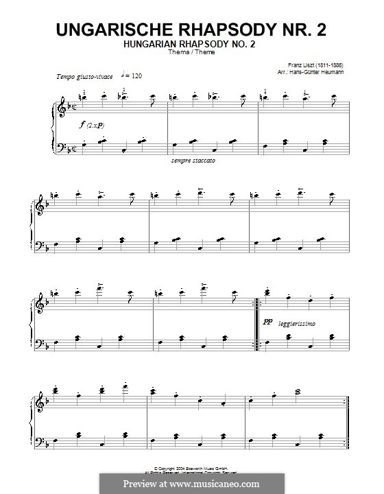 No.2 in C Sharp Minor, S.244: Friska. Theme by Franz Liszt