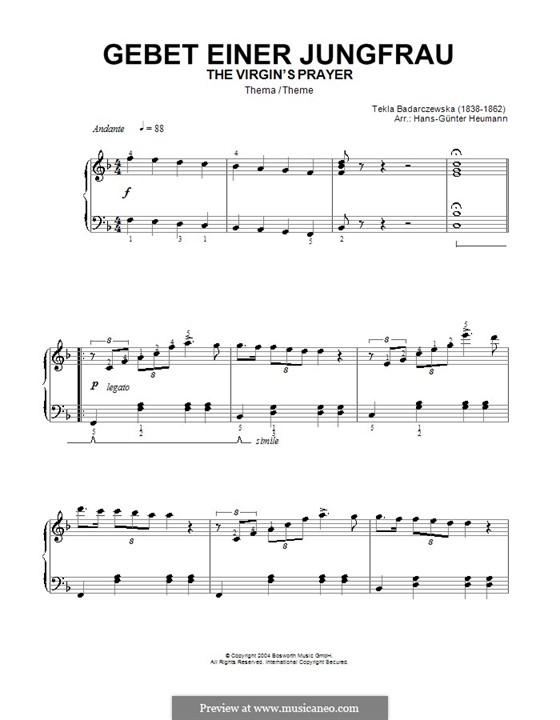 La priere d'une vierge (A Maiden's Prayer): Thema by Tekla Bądarzewska-Baranowska