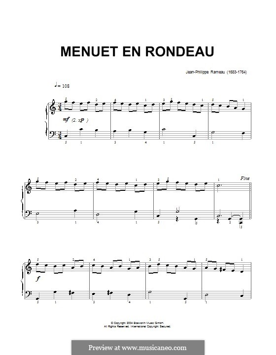 Minuet in C Major, RCT 4: For piano by Jean-Philippe Rameau
