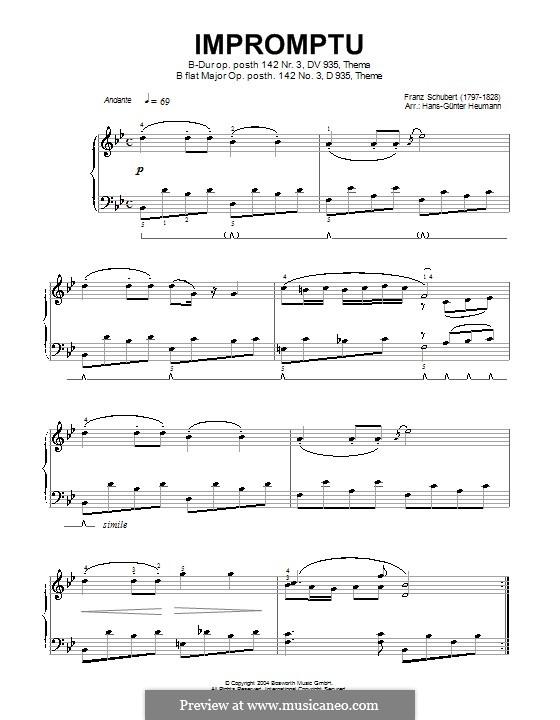 Four Impromptus for Piano, D.935 Op.142: Impromptu No.3 (high quality sheet music) by Franz Schubert
