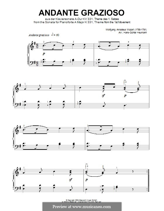 Movement I Andante Grazioso: Theme, for piano by Wolfgang Amadeus Mozart
